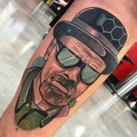 Portrait style colored leg tattoo of cool movie hero