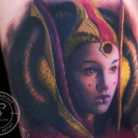 Portrait style colored tattoo of Star Wars queen