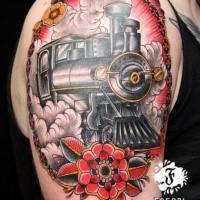 Retrato estilo de color brazo superior del tatuaje del tren de vapor con rosa grande
