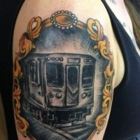 Portrait style colored upper arm tattoo of modern underground train
