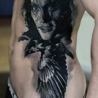 Portrait style detailed side tattoo of Crow hero with flying bird
