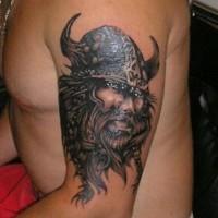 Portrait viking tattoo on half sleeve