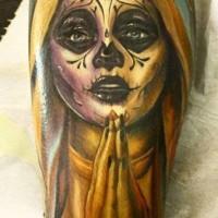 Praying santa muerte girl tatoo