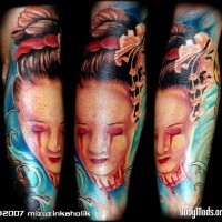 Pretty Asian Geisha severed head with bloody tears colored sleeve tattoo