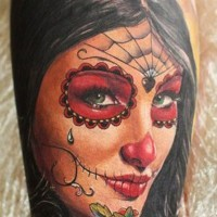 Pretty black hair santa muerte girl tattoo