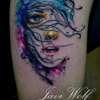 Pretty young girl's portrait colored watercolor stylized tattoo by Javi Wolf