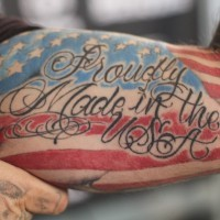 Proudly made in usa patriotic tattoo on arm