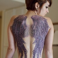 Purple angel wings tattoo for girls