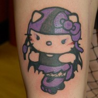 Purple hello kitty roller tattoo