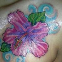 Purple hibiscus tattoo on chest