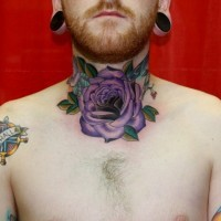 Purple rose throat tattoo design