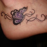 Purple small butterfly tattoo on foot