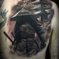 Real life like creative painted colored half back tattoo of samurai warrior near large house