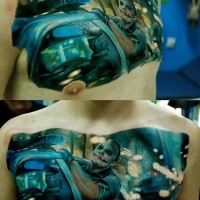 Real life like movie scene tattoo tattoo of Joker in car chase