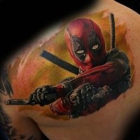 Real lifelike colored back tattoo of Deadpool with pistols and sword