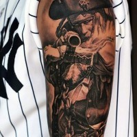 Real movie style black and white pirate tattoo on arm