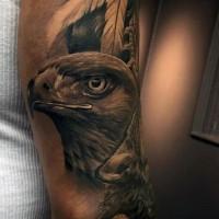 realistico foto inchiostro nero aquila tatuaggio su braccio