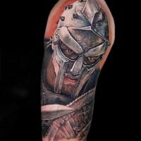 Real photo like colored shoulder tattoo of Gladiator movie scene
