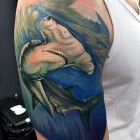 Echtes Foto farbiges Schulter Tattoo mit Hammerhai