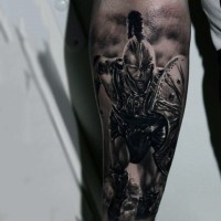Real photo like colored very detailed movie Achilles forearm tattoo