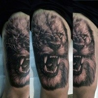 Real photo like detailed tattoo of roaring lion