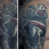 Real photo like very detailed colored military tattoo on upper arm