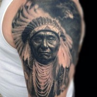 Real photo like very detailed colored old Indian tattoo on shoulder with moon
