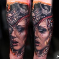 Real photo like very detailed woman pirate tattoo on forearm