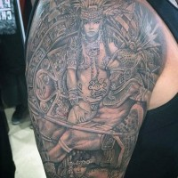 Real tribal wall sculpture like detailed shoulder tattoo