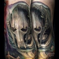 Realism style big colored tattoo of Star Wars droid general