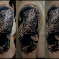 Realism style colored big lizard tattoo on shoulder