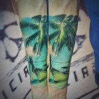 Realism style colored forearm tattoo of palm tree with boat