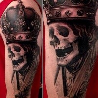 Realism style colored half sleeve tattoo of king skeleton with crown