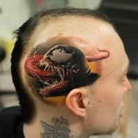 Realism style colored head tattoo of evil Venom head