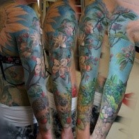Realism style colored large sleeve tattoo of blooming tree with hedgehog
