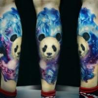 Realism style colored leg tattoo of big Panda bear
