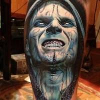 Realism style colored leg tattoo of Blade 2 movie vampire hero