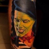 Realism style colored leg tattoo of Mask movie hero portrait