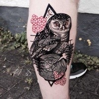 Realism style colored leg tattoo of owl with tree branch and symbols