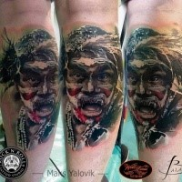 Realism style colored leg tattoo of tribal man with helmet