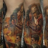 Realism style colored medieval knight tattoo on leg with man with modern pistol