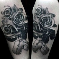 Realism style colored roses with dog tags