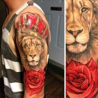 Realism style colored shoulder tattoo of lion with crown and rose