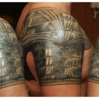 Realism style colored shoulder tattoo of medieval armor