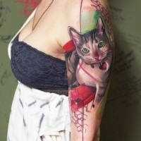 Realism style colored shoulder tattoo of cat with small red heart