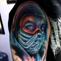 Realism style colored shoulder tattoo of Mortal combat warrior