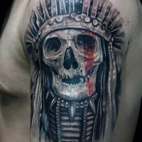 Realism style colored shoulder tattoo of Indian skull with red line