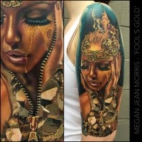 Realism style colored shoulder tattoo of woman with crown and zipper