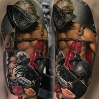 Realism style colored shoulder tattoo of ancient Gladiator