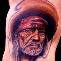 Realism style colored side tattoo of Mexican old man in hat